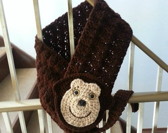 Crochet PATTERN Monkeying Around Critter Scarf  by Crochet Rox,  Crocheted Monkey scarf, Critters, adorable scarf