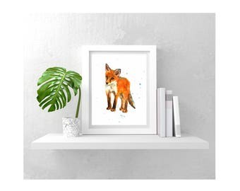 Baby Fox Art Print, Fox Lover Gift