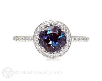 Platinum Alexandrite Ring Diamond Halo Setting Alexandrite Engagement Ring Custom Bridal Jewelry