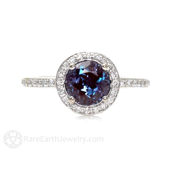 engagement custom ring diamond and rings alexandrite