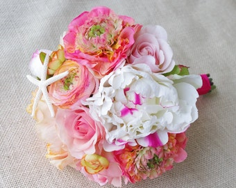 Bouquet of Silk Peonies and Ranunculus Coral Peach Starfish Natural Touch Flower Wedding Bride Bouquet - Almost Fresh