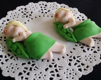 Two Peas in the Pod, Peas in the Pod Cake Topper, Twins Peas in the Pod, Peas in the Pod Baby Shower, Twin Baby Shower, Two Peas Cake Topper