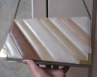 Vintage beige tan snake skin lizard shoulder bag, natural tones Varon clutch shoulder bag, ivory tan exotic skins summer purse handbag