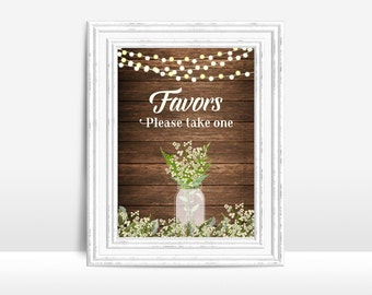 Favors Sign Printable, Wedding Sign, Rustic Wedding Favors Sign, Rustic Favors Table Sign, Printable Favors Sign, Babys Breath Wedding Sign