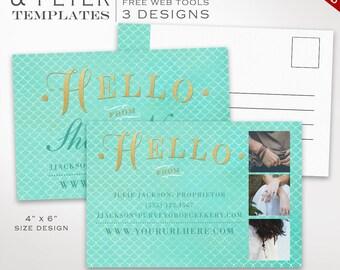 Postcard Template - Mermaid Flyer Template Postcard Kit - Printable Photography Postcard Editable Shop Announcement Flyer PC46 AAB