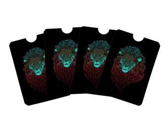Lion in the dark credit card rfid blocker holder protector wallet purse sleeves set of 4