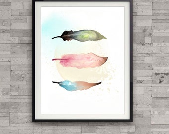Watercolor feathers wall art, feather poster,  art print, home wall decor, nursery decor, soft colours, girl's room, gift, native