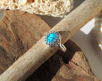 Blue Synthetic Fire Opal Sterling Silver Ring, Adjustable size