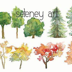 Watercolor Tree Silhouettes Clipart , Clip Art ,Watercolor tree clipart,  Wood clipart, Watercolor