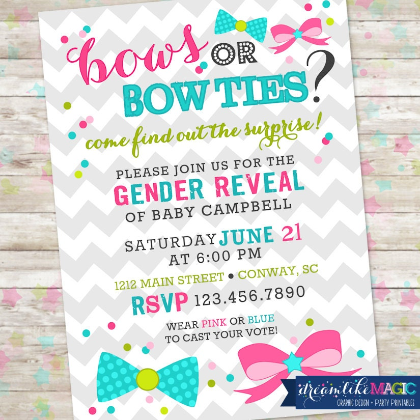 Gender Reveal Party Invitation Bows or Bowties Invite Gender