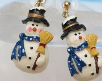 Holiday Snowman Earrings 1980s Christmas Pierced Earrings