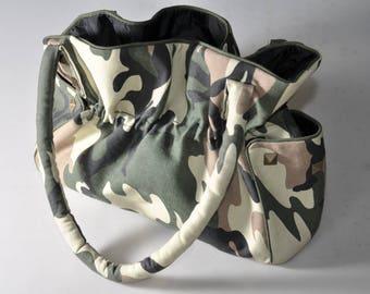 Shoulder bag purse, handbag, bag in Camouflage, Khaki/beige/black printed cotton canvas