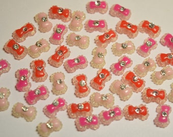 45 pc Cute Bow Tie Rhinestone Mix Flatback Cabochon for 3D Nail Art, Cellphones, Embellishment, Crafts