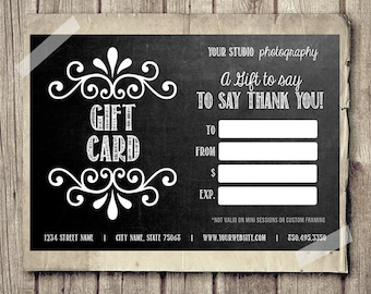 Gift card certificate template for photographers vintage gift card certificate template for photographers chalkboard gift card printable 35x5 chalk gift yelopaper Gallery