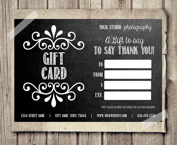 digital gift certificate template  Gift Card Certificate Template for Photographers Chalkboard