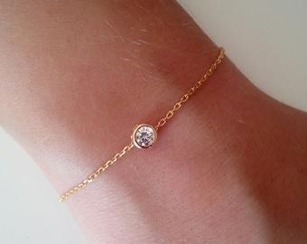Gold bracelet, tiny bracelet, cubic zirconia bracelet, dainty bracelet, bridesmaid gift