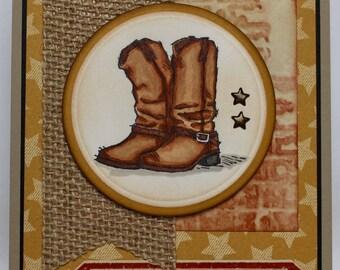 Rustic Cowboy Boots Birthday Card
