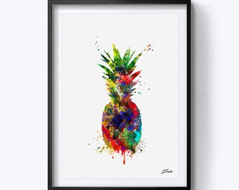 pineapple art print watercolor pineapple poster print art decoe pineapple wall art print pineapple watercolour painting gift for her A149