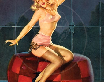 Sleepy-time Girl - 10x13 Giclée Canvas Print of a Vintage Pinup
