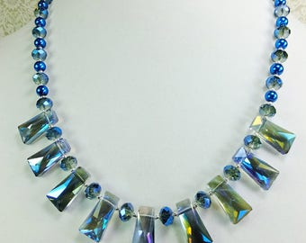Blue Cut Cystal Beaded Necklace with Glass Pearls, Tiny Silver Plated Beads, and Security Clasp