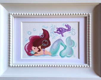 Aqua Mermaid with Purple Kitty - 3.5 x 5 inches - Original Gouache painting