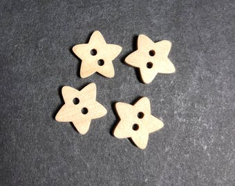 Wooden Star Button - pack of 4