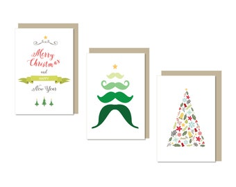 Christmas Card Set, Set of 3, Christmas tree card, Green Christmas, Kraft envelope, Bright coloured holiday cards, A6 cards with envelope
