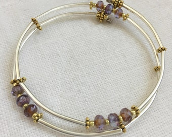 Gold Silver and Lilac Czech Crystal Memory Wire Bracelet, Silver Tube Bracelet, Silver Bangle, Minimalist Bangle, Gold Silver Bracelet (M-99