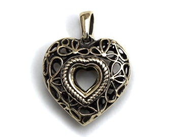 Heart bronze pendant Heart necklace Heart jewelry Heart charm Mother's day gift Gift for girlfriend Christmas gift Gift for Valentine's Day