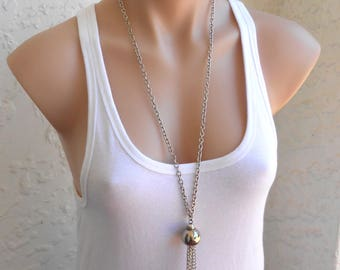 Silver Necklace Long Necklace Vintage Necklace Pendant Bohemian Jewelry Boho Necklace Gift for Her a Gift for Her Free Shipping