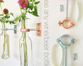 HARDWARE ONLY - 7 Wine Bottle Wall Flower Vase Kits - copper or silver - DIY - hostess gift - Christmas Gift for Her
