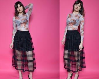 Vintage 90's Black Sheer Mesh Maxi Skirt / High Waist See Through Long Skirt - Size Small