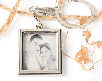 Personalized bouquet charms pendant -Custom Engraving Keyring with photo,Anniversary Gift and Wedding,Valentines' Gift-Girls Friend Gift