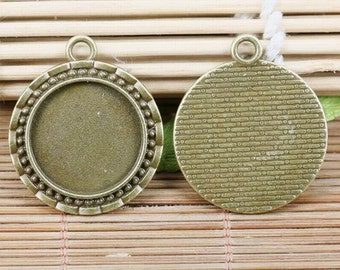 3pcs antiqued bronze tone 28mm round cameo settings charm EF2092