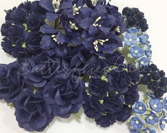 75 Mixed Sizes of  Royal Dark Blue Handmade Mulberry Paper Flowers