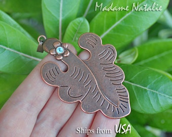 Copper Tone Leaf Pendant, Leaf with Flower Pendant, Copper Oak Leaf with Blue Flower, Engraved Leaf Pendant, Autumn Leaf Pendant Necklace