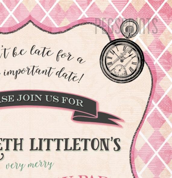 Mad Hatter Birthday Invitation Printable Mad Hatter Tea