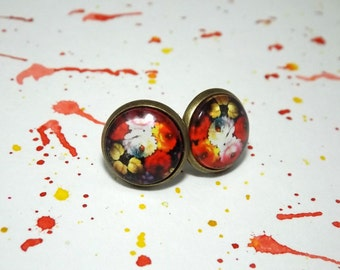 Red floral stud earrings - Bright flower stud earrings - Small flower earings - Floral stud earings - Small flower studs - Gifts for her