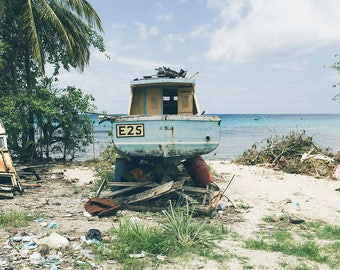 Shipyard Salvage, Barbados Fishing Village, Beach Photography, Ocean Sea Summer, Seashore Horizon, Surf Decor, Ocean Art, Seascape Art, Blue