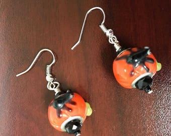 Halloween Spider Pumpkin Earrings