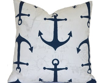 Outdoor Pillows Outdoor Pillow Covers Decorative Pillows ANY SIZE Pillow Cover Navy Pillow Premier Prints Outdoor Anchors Oxford