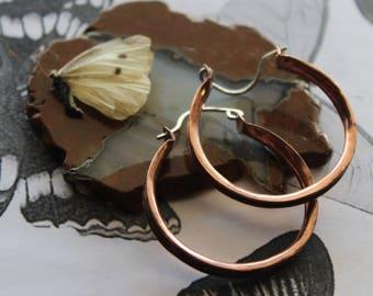 Copper Hoop Earrings, Copper Earrings, Copper Hoops, Hoop Earrings, Copper Anticlastic Hoops, Mixed Metal Hoop Earrings