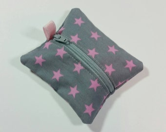 Tiny zipper pouch / earbud case / ear bud pouch / coin pouch / jump stick case / mini zipper pouch | Pink Stars on Gray