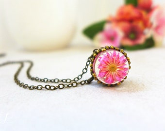 Real Flower Necklace, Daisy Necklace, Floral Necklace, Botanical Necklace Nature Necklace Pink Flower Jewelry Valentines Gift for Girlfriend