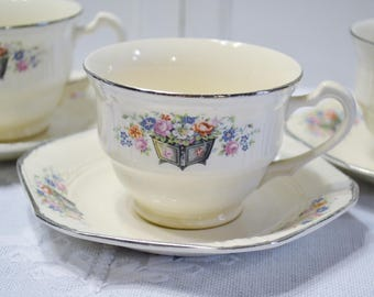Vintage Cup and Saucer Set of 3 Edwin Knowles Floral Design Planter Vintage China Dish Chippy PanchosPorch