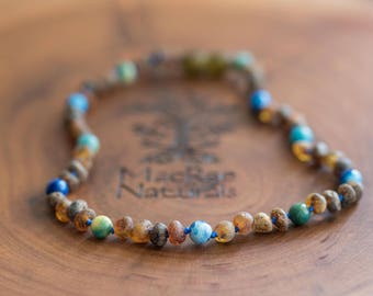BEST SELLER- Raw Baltic Amber Teething Necklace in 'Caden'- Custom MacRae Naturals Amber Necklace