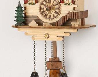 New-Cuckoo clock-house with shingles and 12 melodies-Black Forest