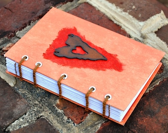 "Rustic heart sketchbook or journal, 4"" x 6"" handmade coptic bound journal"