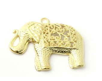 1, 5 or 10 metal elephant pendant gold 59 x 48 mm