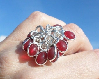 SILVER plated ring and drops red (BA53 5-89)